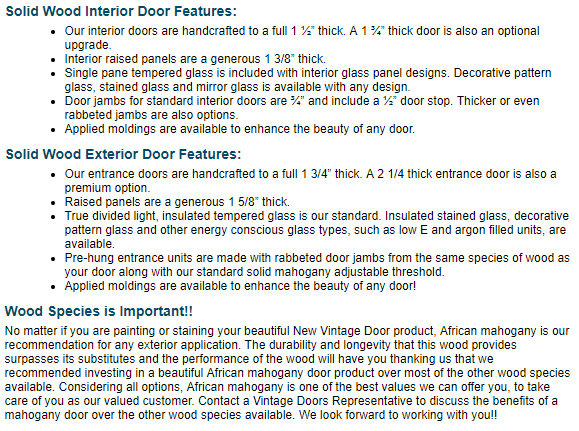 Solid Wood Craftsman Doors for Exterior & Interior Applications - Vintage Doors