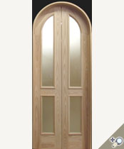 DBL-G141-RT Round Top Glass Panel Double Door