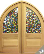 DBL-G114ATG-2 Gothic Arch Top Glass Panel Double Door