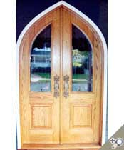DB103 Gothic Round Top Glass Panel Double Door