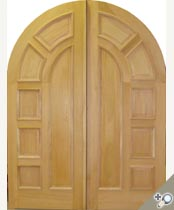 DB114 Round Top Solid Wood Double Door