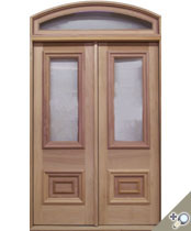 DB110 Arch Top Glass Panel Double Door