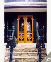 Double Chelsea screen & storm door in Spanish cedar. Browse more Victorian designs like this one that can be made into double screen and storm doors.
