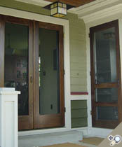 Double manhattan screen storm door shown in solid for Storm doors for double entry doors